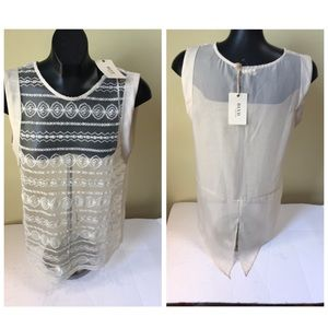 BLVD NEW Lace Front Solid Back Short Sleeve Top